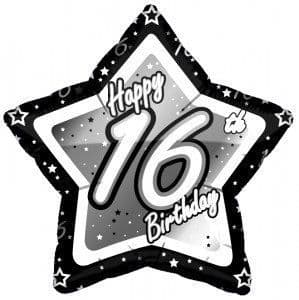 "Age 16 Happy Birthday Black and Silber Star 18"" Foil Balloon"